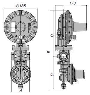 Габаритные присоединительные размеры регулятора газа прямого действия Рietro Fiorentini Dival 500 + ПЗК