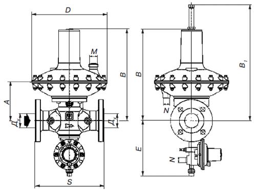 Схема регулятора давления газа Рietro Fiorentini Dival 600