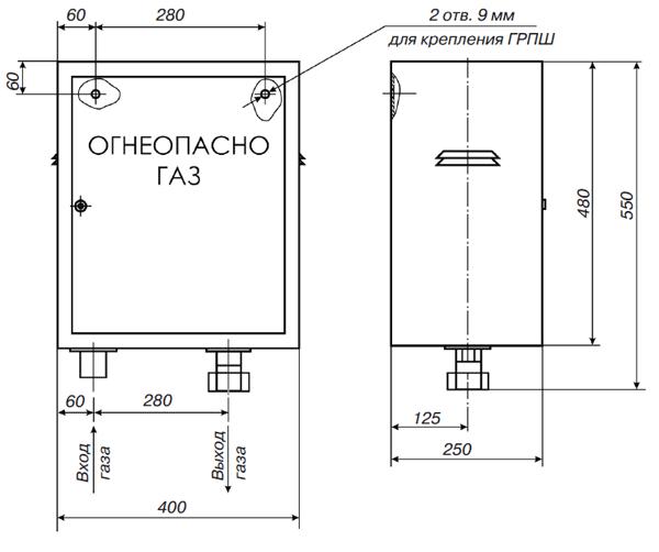 Газорегуляторные пункты шкафные ГРПШ-10, ГРПШ-25 с одной линией редуцирования