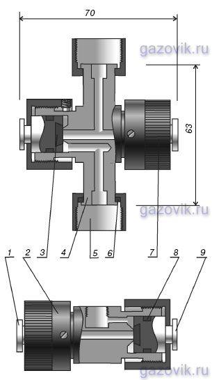 Клапан трехходовой стальной для манометра КМ 1.00