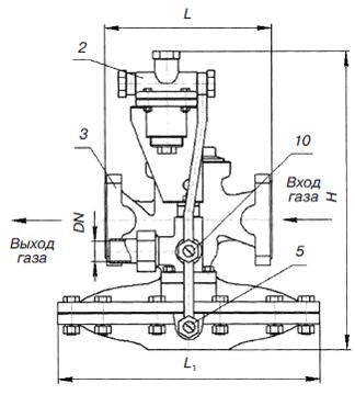 Общий вид и габаритные размеры регуляторов давления газа РДБК1-25В, РДБК1-50В, РДБК1-100В, РДБК1-200В